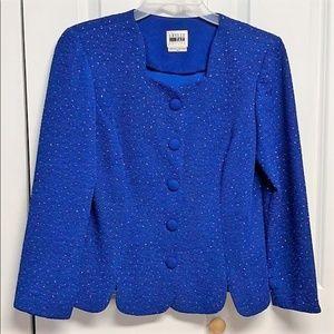 Leslie Fay Blazer Top Size 12P Blue Sparkling